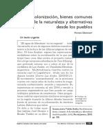 """Salomone , Mariano """"Recolonización, bienes comunes de la naturaleza y alternativas desde los pueblos"""""""