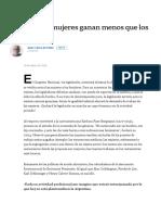 [La Nación] Por Qué Las Mujeres Ganan Menos Que Los Hombres Por Juan Carlos de Pablo