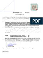 curriculum night letter for parents