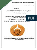 Decreto Municipal Nº 001-2018 Creacion de La Unidad de Transparencia