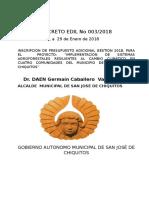 Decreto Edil 003-2018 Inscripcion Adicional de Presupuesto