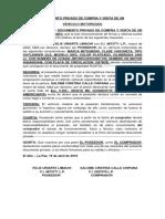 Documento Privado de Compra y Venta de Un