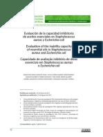 Evaluación de La Capacidad Inhibitoria de Aceites Esenciales en Staphylococcus Aureus y Escherichia Coli
