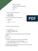 1 Lista Exercícios Cálculo I