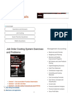 Job Order Costing Exercises-Solved Problems-Home Work Solution