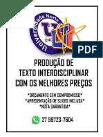 PRODUÇÃO TEXTUAL INTERDISCIPLINAR EM GRUPO Temática Interdisciplinar