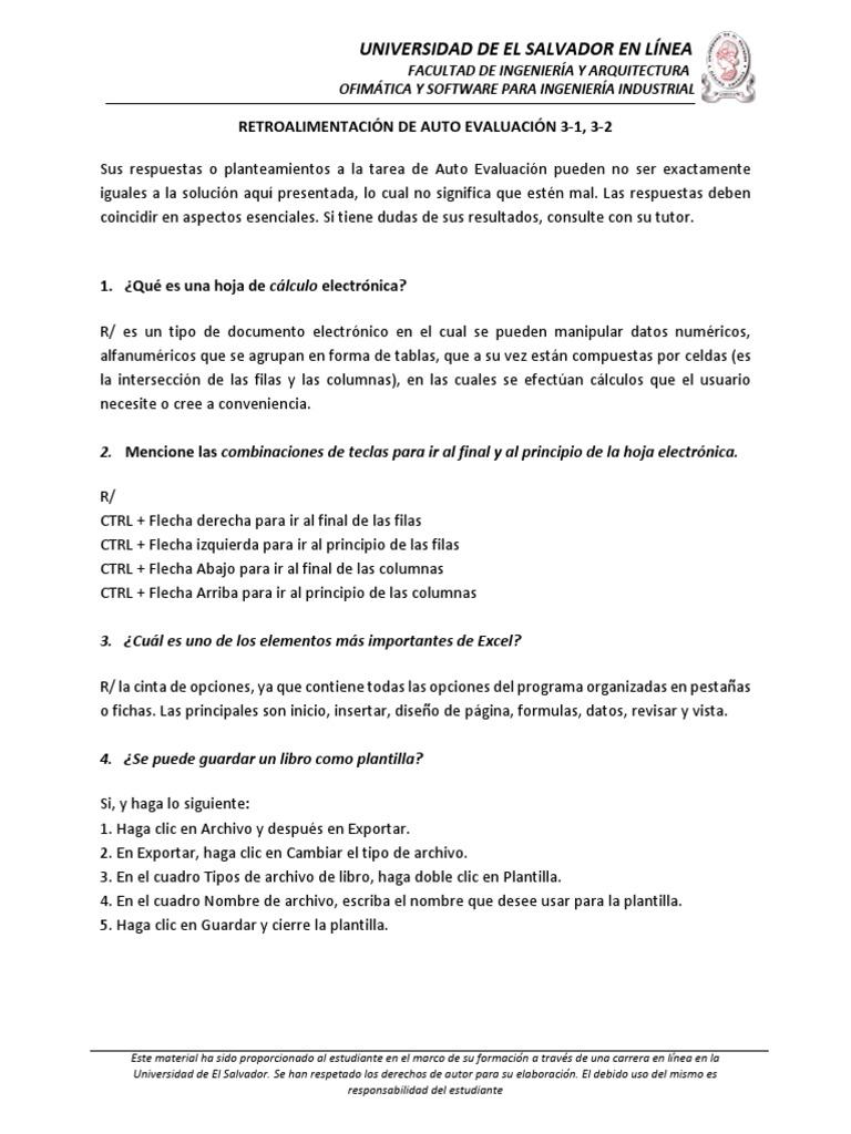 Retroalimentación a Tarea de Auto Evaluación 3-1, 3-2 OFI115