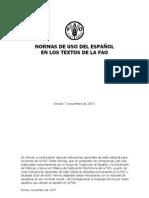 NORMAS DE USO DEL ESPAÑOL en los textos de la FAO