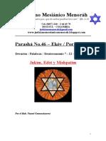 Parasha No.46 Ekev Jukim,Edot y Mishpatim Judaica Menorah
