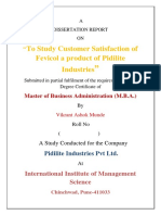 A project report on Customer satisfaction and consumer buying behaviour of pidilite company