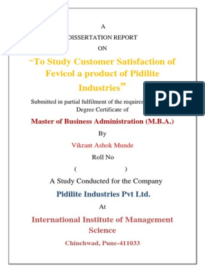 A Project Report On Customer Satisfaction And Consumer Buying Behaviour Of Pidilite Company Business Consumer Behaviour