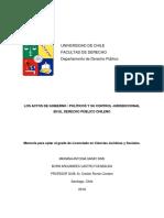 Los Actos de Gobierno Políticos y Su Control Jurisdiccional en El Derecho Público Chileno