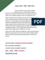 Training Laundry Sepatu, 0821 – 4002 – 3060 ( WA )