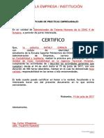 Formato Uprex Fade 10 Certificado de Practicas Pre Profesionales