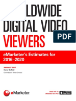Worldwide Digital Video Viewers - eMarketers Estimates for 2016-2020