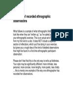 Fieldnotes Sample