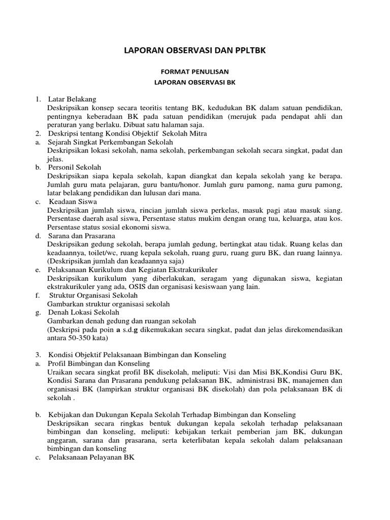 Contoh Laporan Observasi Bk Di Sekolah Kumpulan Contoh Laporan