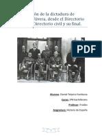 La Evolución de La Dictadura de Primo de Rivera