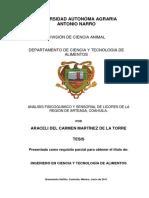 Análisis Fisicoquímico y Sensorial de Licores de La Región de Arteaga, Coahuila.