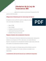 Aspectos Tributarios de La Ley de Servicios Financieros 393