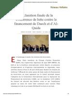 Déclaration finale de la Conférence de lutte contre le financement de Daech et d'Al-Qaida