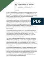 NIRF Ranking Open Letter to Shree Javadekar