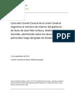 Carta del Comité Central de la Unión Sindical Argentina