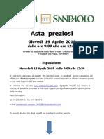 Asta Preziosi Intesa Sanpaolo Mestre Aprile2018