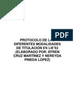 Protocolo de Las Diferentes Modalidades de Titulación Lie