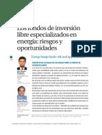 Los Fondos de Inversión Libre Especializados en Energía- Riesgos y Oportunidades (