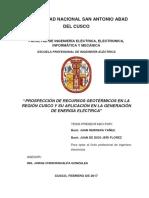 """""""PROSPECCIÓN DE RECURSOS GEOTÉRMICOS EN LA REGIÓN CUSCO Y SU APLICACIÓN EN LA GENERACIÓN DE ENERGÍA ELÉCTRICA"""""""