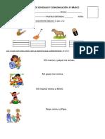 Prueba de Lenguaje y Comunicación Letra p y m 1º Básico