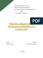 Materiales, Maquinarias y Herramientas Utilizadas en La Construcción