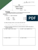 Guia de Numeros Decimales 1ero Medio Resolución Operatoria, Orden, Metodos de Aproximacion