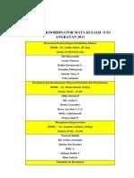 Daftar Koordinator Mata Kuliah