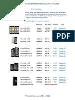 Tarif Mai2018 - iPhones Recertifiés Grade A