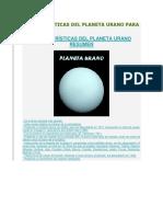Características Del Planeta Urano Para Niños