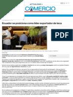 Ecuador Se Posiciona Como Líder Exportador de Teca _ El Comercio