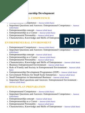 Entrepreneurship Development - Lecture Notes, Study Material