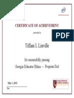 exit program certificate