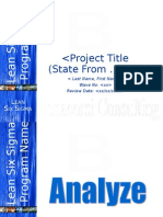 Lean Six Sigma Analyze Phase Tollgate Template