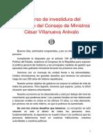 Discurso de investidura del presidente del Consejo de Ministros César Villanueva