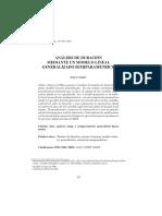 Analisis de Duración Mediante Un Modelo Lineal Generalizado Semiparametrico