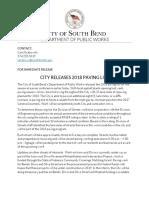 2018 City Paving List