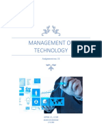 Management of Technology Assignment 01