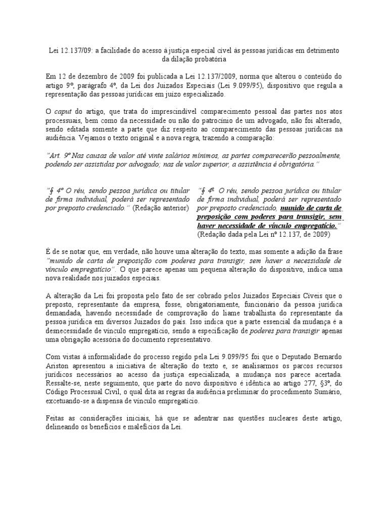 Comentarios à Lei 12 137 2009 Processo Civil Prova Direito