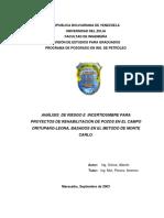 Análisis de Riesgo e Incertidumbre Para Rehabiitacion de Pozos