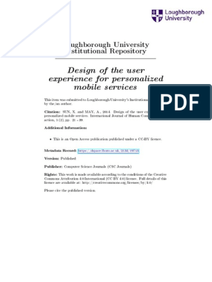 Design Of The User Experience For Personalized Mobile Services User Experience Human Computer Interaction