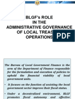 BLGFs Role and Administrative Governance on Local Treasury Operations