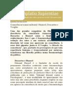 Consciência Transcendental - Husserl, Descartes e Voeglin